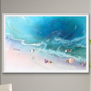 Abstract Seascape. Bright Teal. Bounty Dream. Art Print. Antuanelle 1 Dream Ocean Beach Wall. Limited Edition Print