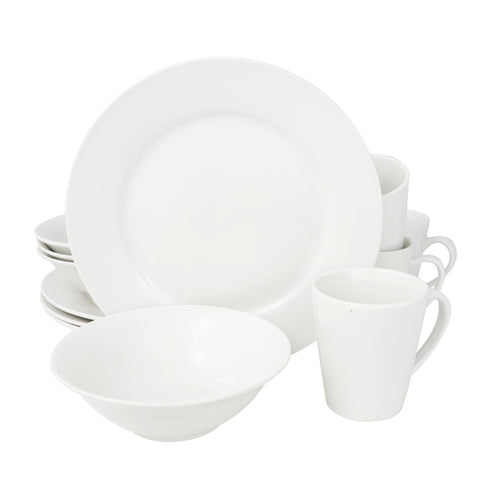 Gibson Home Noble Court 12 Piece Dinnerware Set in White