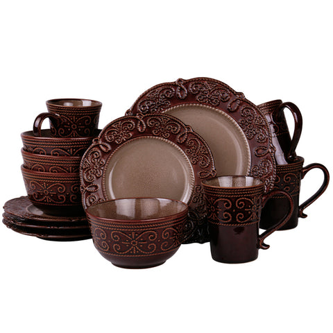 Elama and rsquo;s Salia 16 Piece Stoneware Dinnerware Set