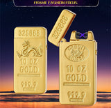 Classic Gold Bar Electric Double Arc rechargeable Lighter