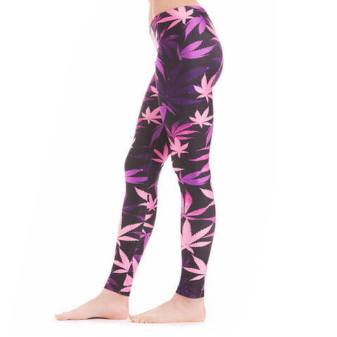 Purple Pink Weed Leggings