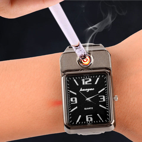 Men's Casual Quartz Wristwatches with Windproof Lighter