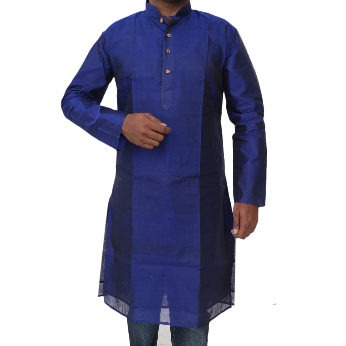 Mens Long Silk Cotton Kurta Blue