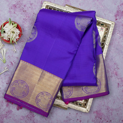 kanjivaram Silk Saree Blue and Violet with Butta and Zari border