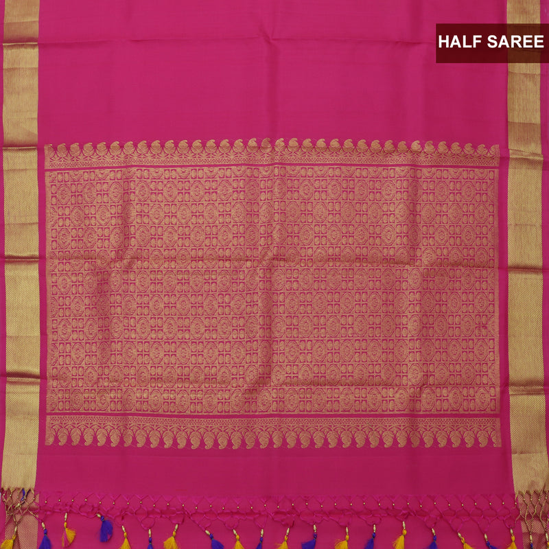 Pure silk half saree yellow with allover golden zari buttas and contrast pink blouse & Dupatta