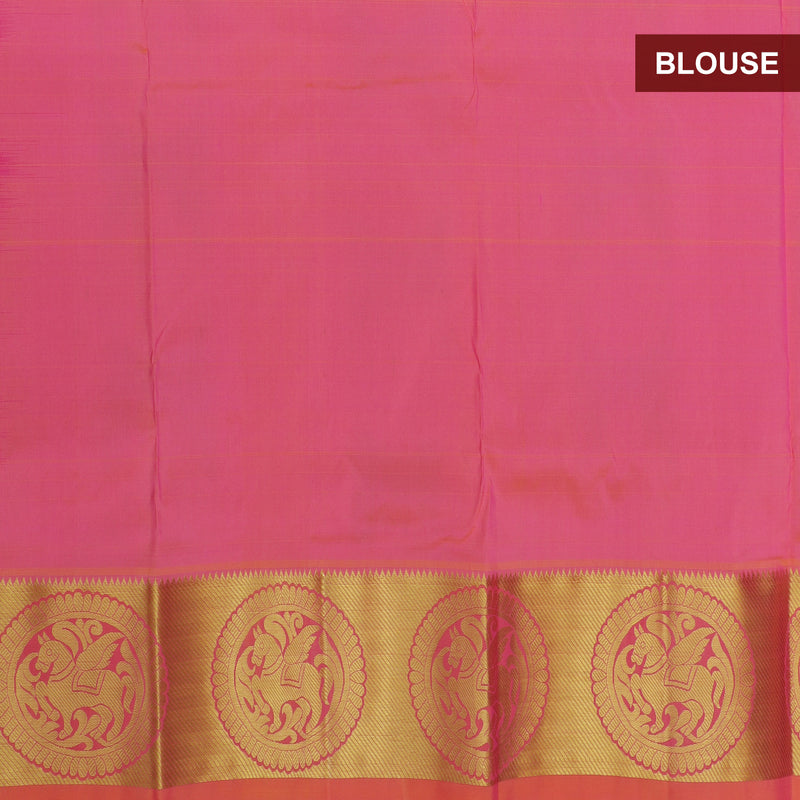 Pure silk pavadai material pink with overall zari buttas and golden zari border for 3 to 5 years