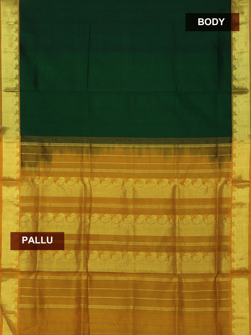 Silk Cotton Saree Bottle green and Mustard yellow with golden zari paisley border 10 Yards