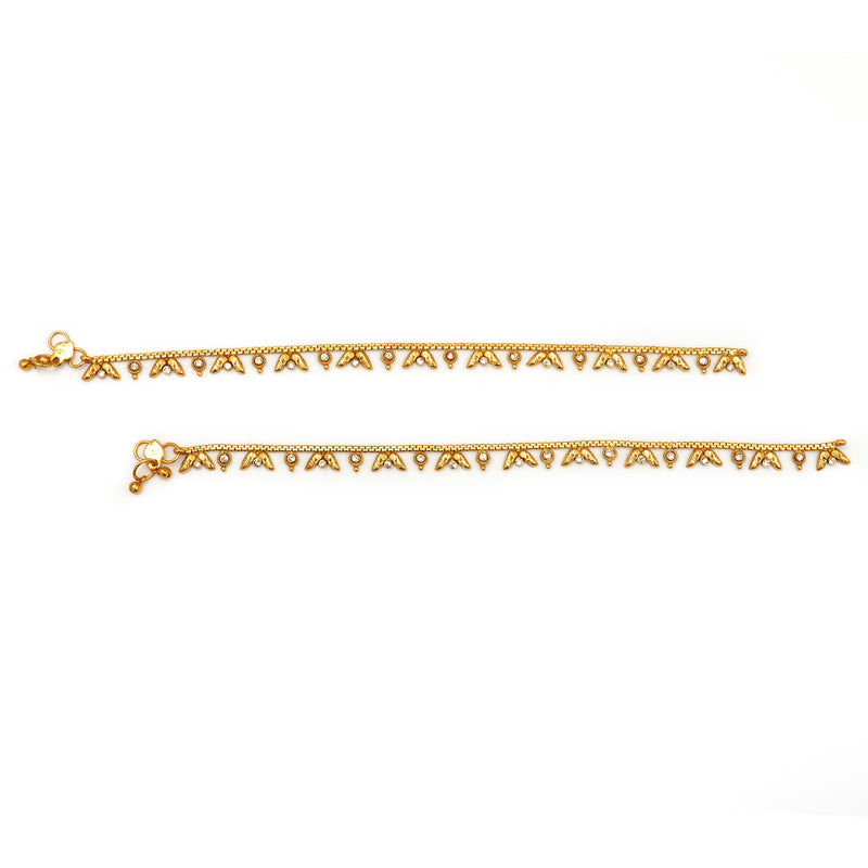 Traditional Gold anklet for Rs.Rs. 850.00 | Anklets by Prashanti Sarees