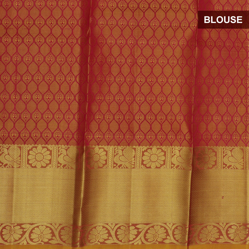Pure silk pavadai material pink and mustard yellow with overall zari buttas and golden zari border for 3 to 5 years