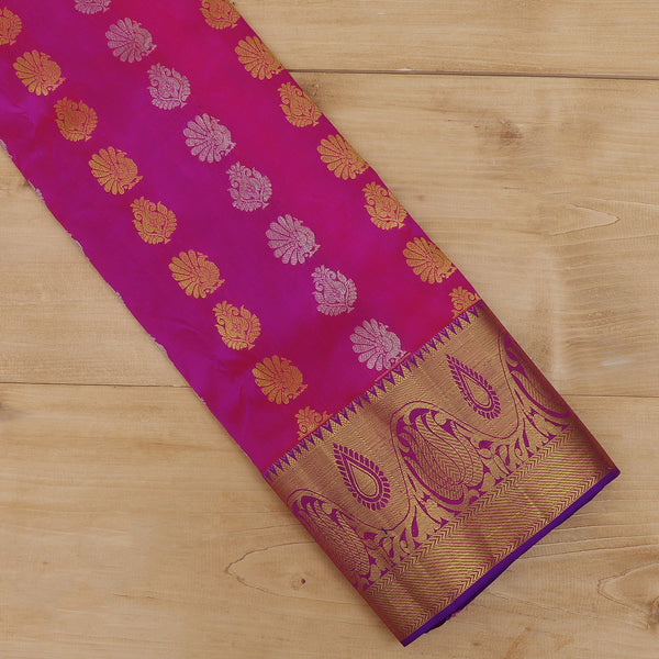 Pure Silk Pavadai hot pink and violet with zari buttas 6 to 10 years