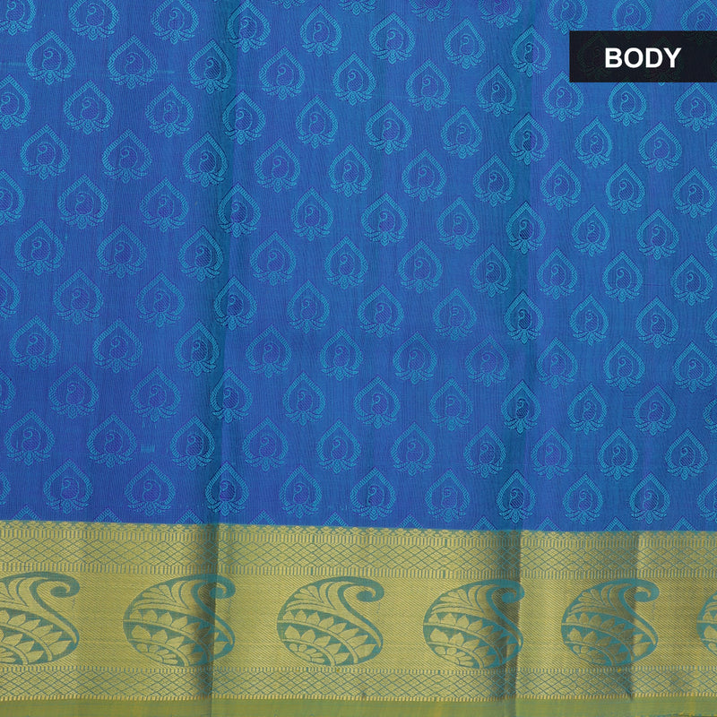 Pure silk pavadai material blue and golden blue with overall self emboss and golden zari paisley border for 6 to 10 years