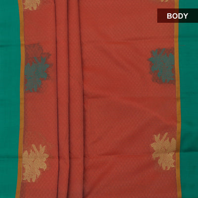 Kora Silk Saree Orange and Green with Parrot border