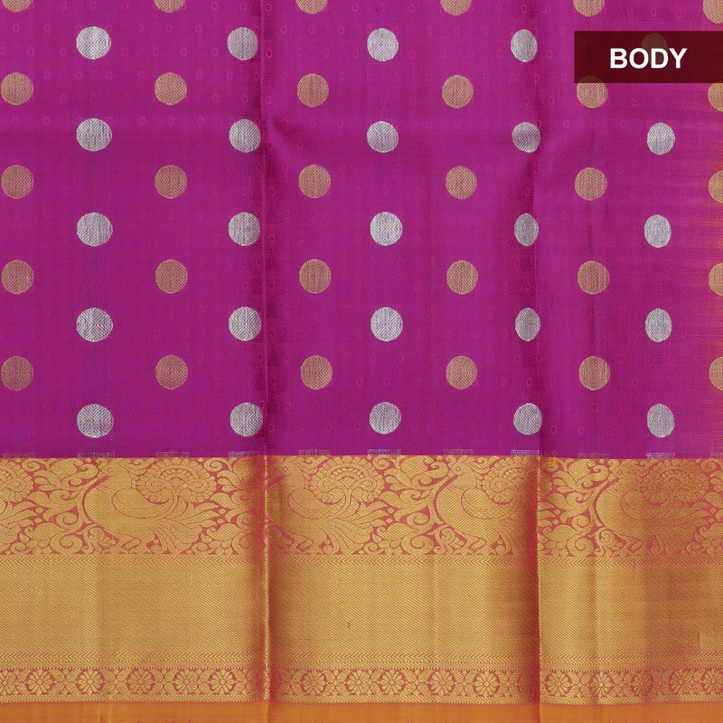 Pure silk pavadai material purple and dual shade of mustard yellow with overall zari buttas and golden zari border for 3 to 5 years