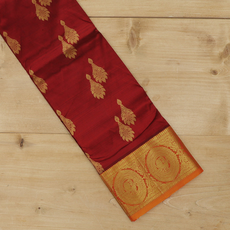 Pure silk pavadai material maroon with overall zari buttas and golden zari peacock border for 3 to 5 years