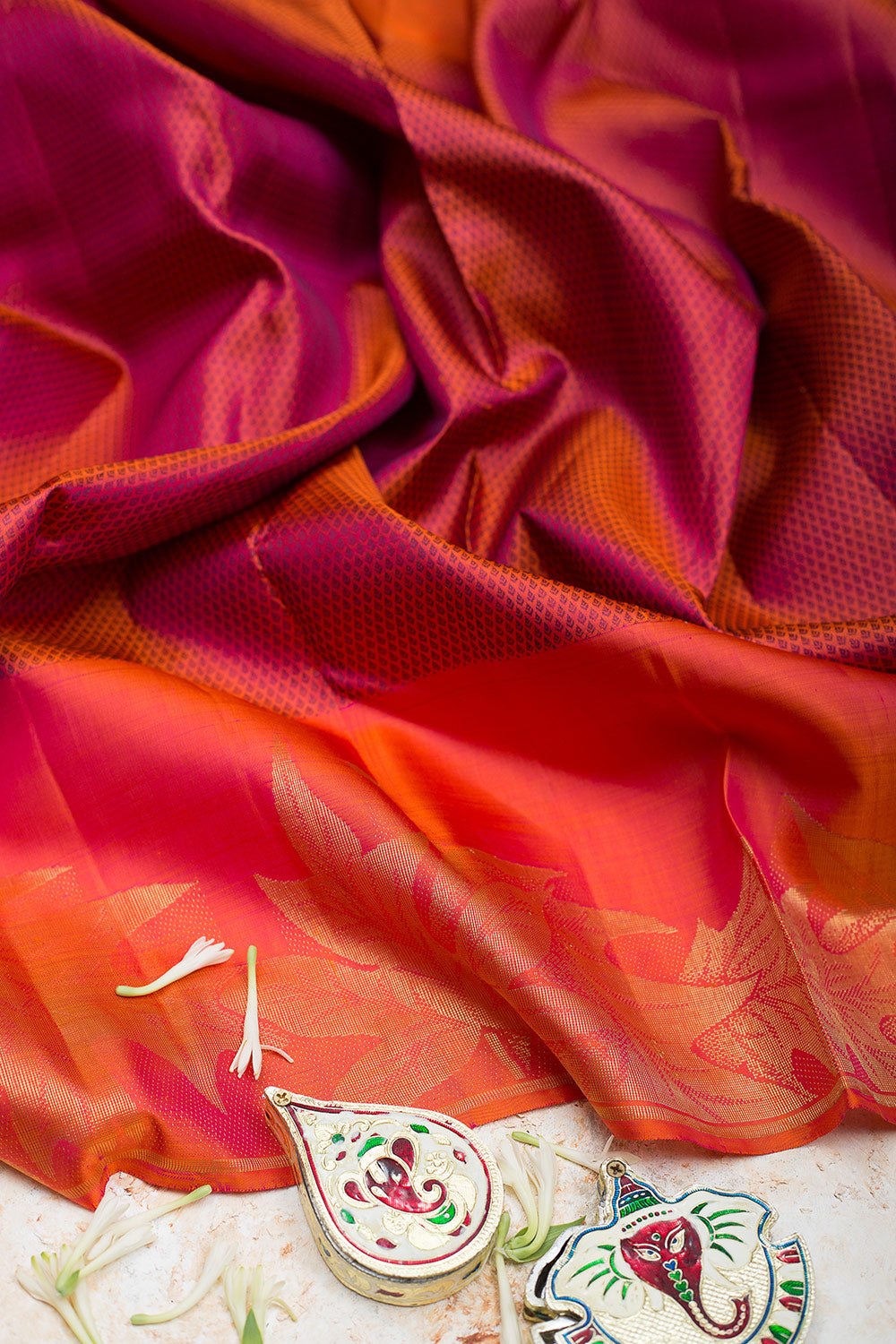 kanjivaram Silk Saree Orange with Blue shade and Leaf Zari border