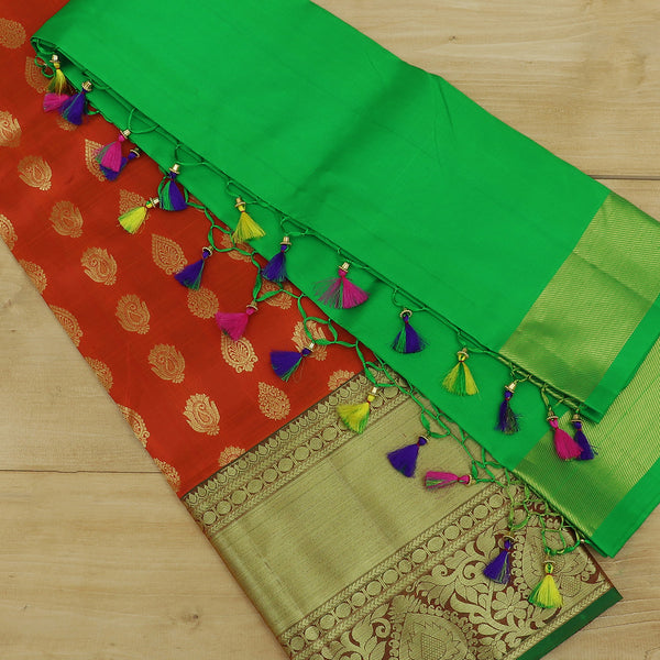 Pure Silk half saree set orange with golden buttas and contrast green blouse and dupatta for Rs.Rs. 9290.00 | Kid's Paavadai Sattai by Prashanti Sarees