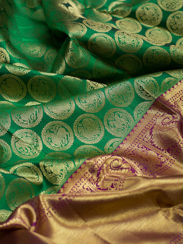 Kanjivaram silk sarees Green with Mandala Zari Buttas and Magenta with Zari border