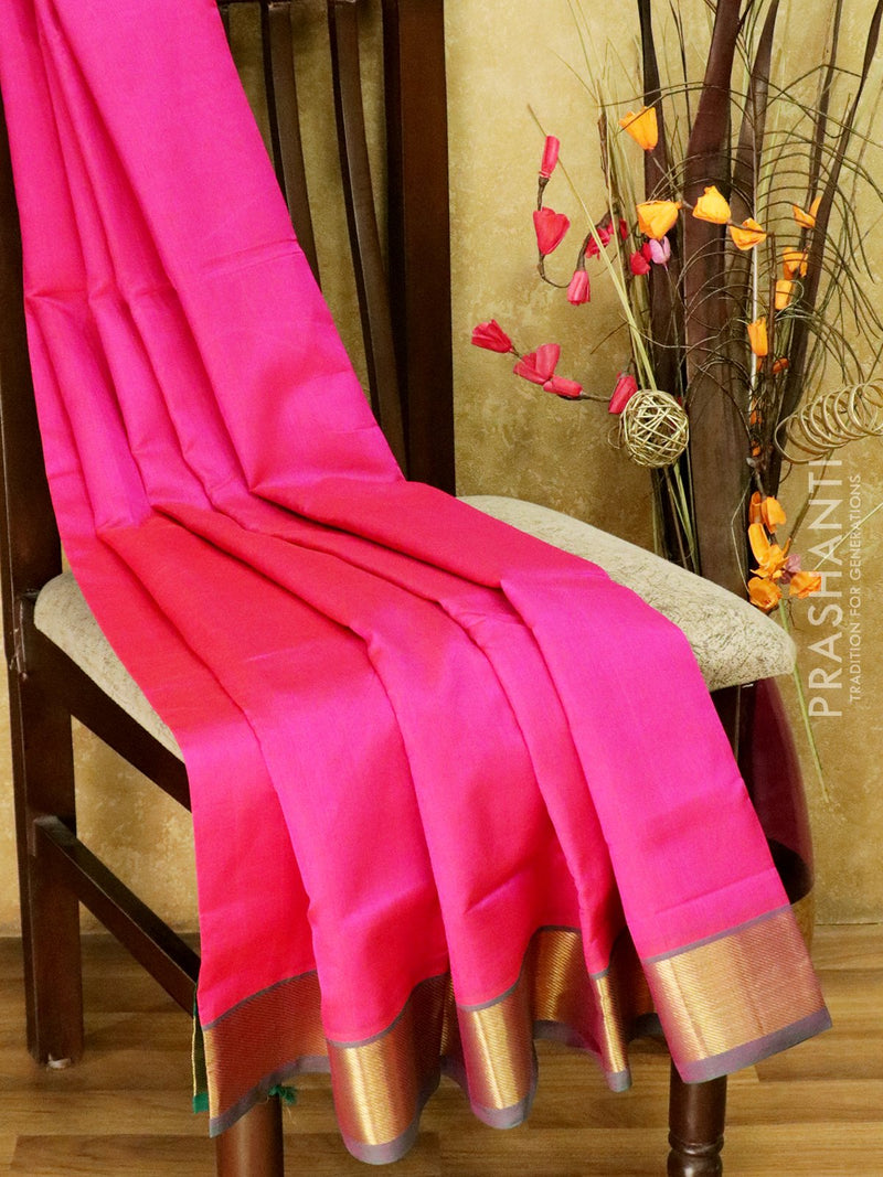 10 yards silk cotton saree pink and green with traditional zari woven border