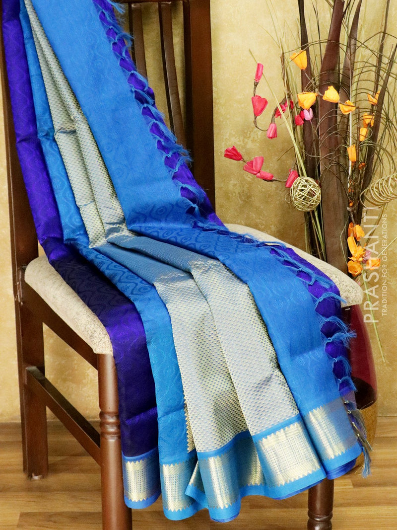 10 yards silk cotton saree navy blue and cs blue jacquard with traditional zari woven border