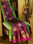 10 yards silk cotton saree green and purple with traditional zari woven border