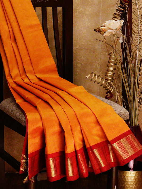 Silk cotton saree mango yellow and red with korvai zari border