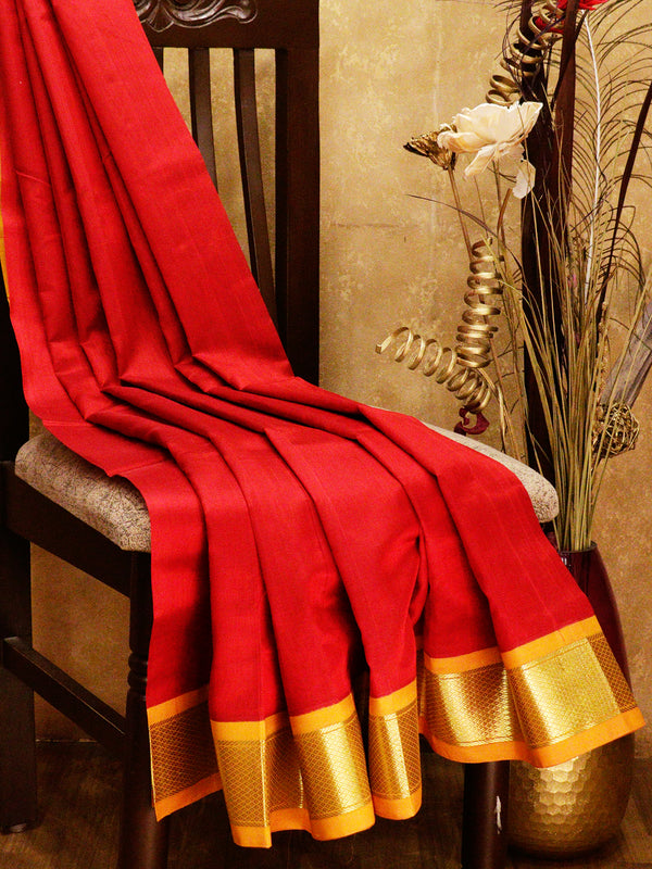 Silk cotton saree red and mustard yellow with korvai zari border