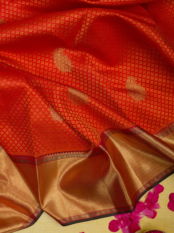 Kanjivaram Silk Saree Orange with Embossed and Zari Border