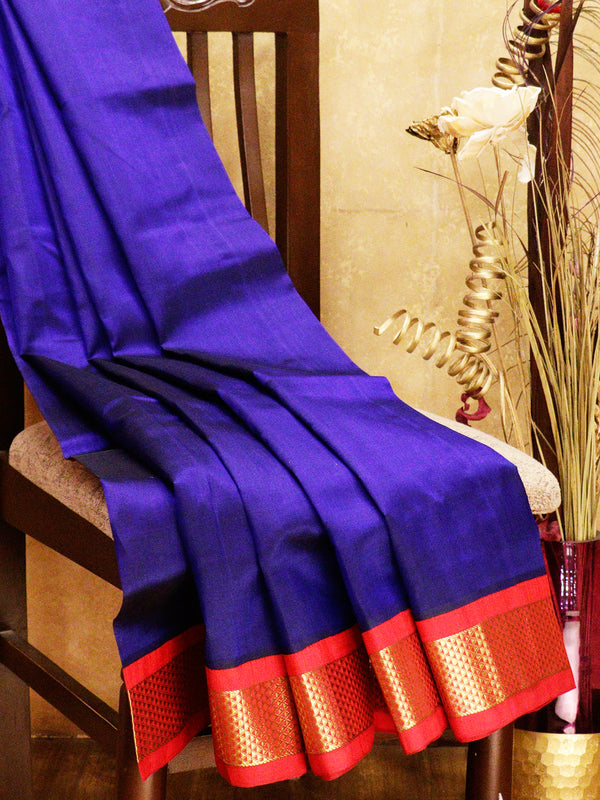 Silk cotton saree blue and red with korvai zari border