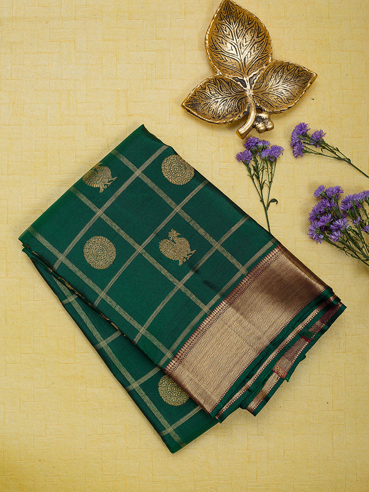 Kanjivaram Silk Saree Green with Annam and Mandala Buttas with Zari Border