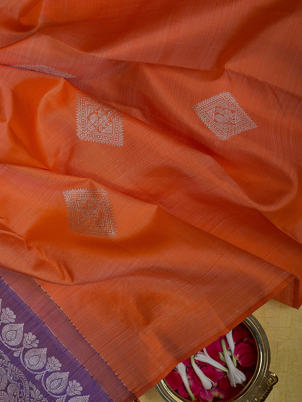 Kanjivaram Silk Sarees Orange with Diamond silver Buttas