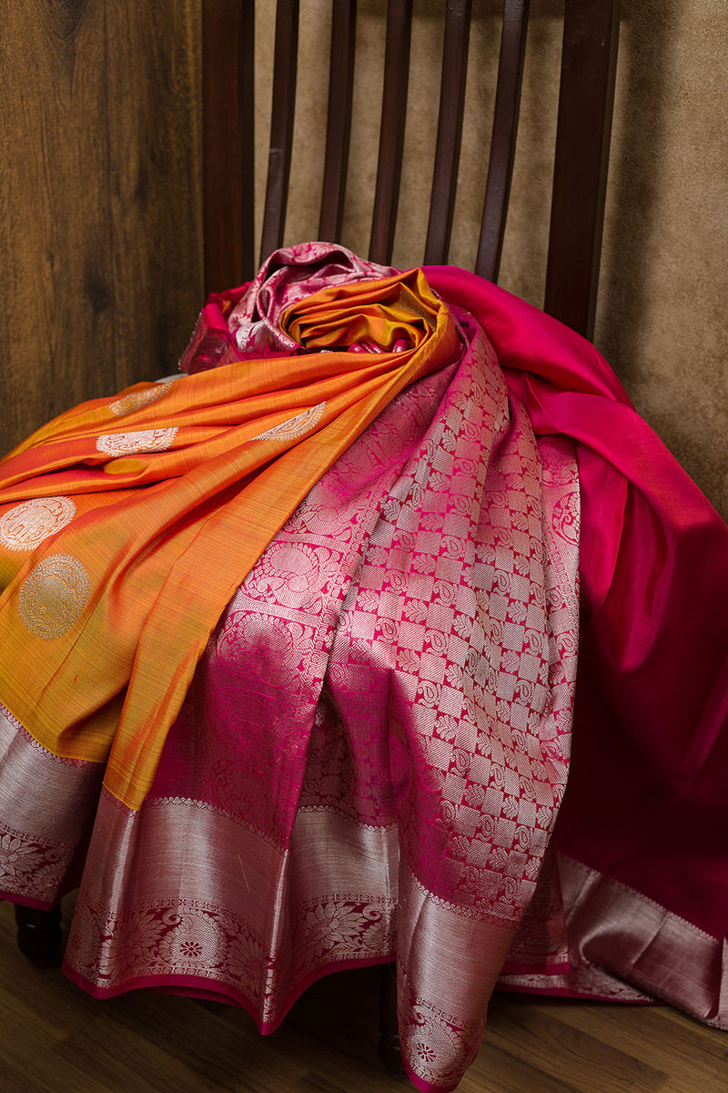 kanjivaram Silk Saree Honey Color and Pink with Motif and Mango Silver zari border