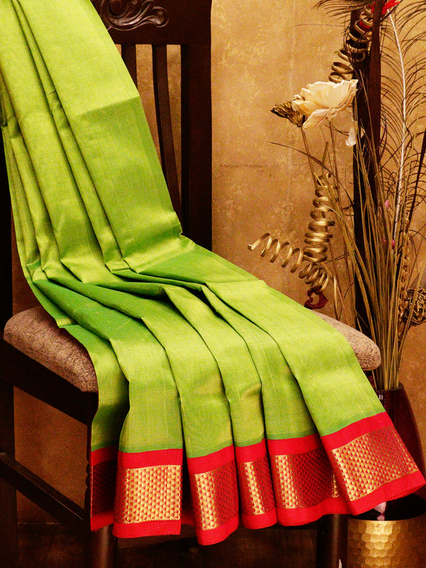 Silk cotton saree green and pink with korvai zari border for Rs.Rs. 5150.00 | Silk Cotton sarees by Prashanti Sarees