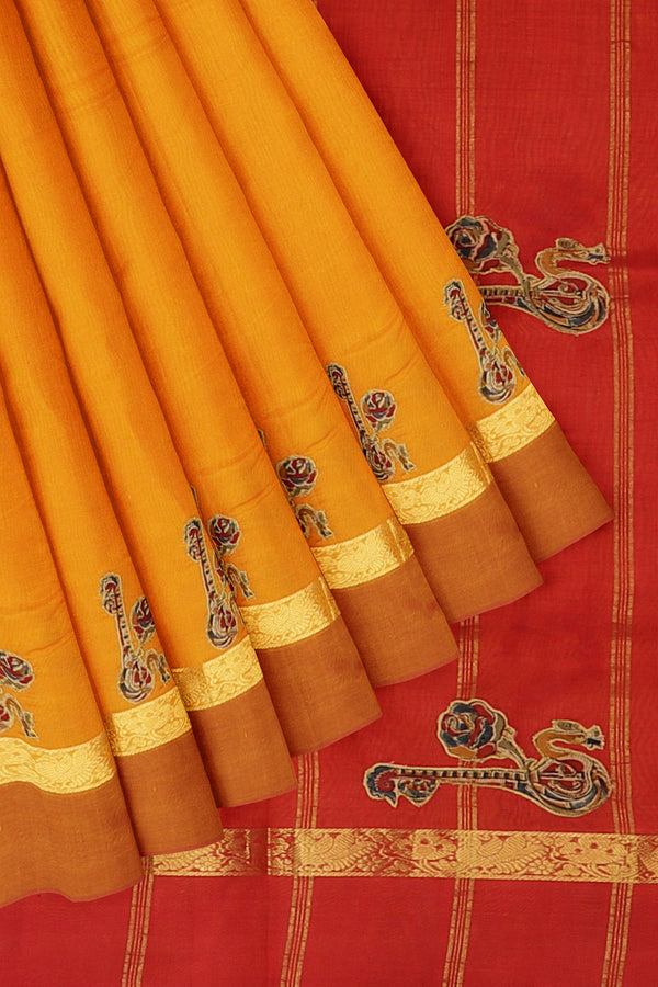 Silk Cotton Saree mango yellow and red with kalamkari applique work for Rs.Rs. 3695.00 | Kalamkari Sarees by Prashanti Sarees