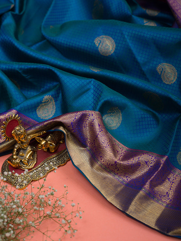 Kanjivaram Silk Saree Cerulean Blue Embossed with Mango buttas and Violet with Annam zari border for Rs.Rs. 29100.00 | Silk Sarees by Prashanti Sarees