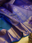 Kanjivaram Silk Saree Prussian Blue with Small Checks and Blue with Mango zari Border