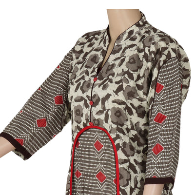 Cotton Kurta Grey and Red with Floral design