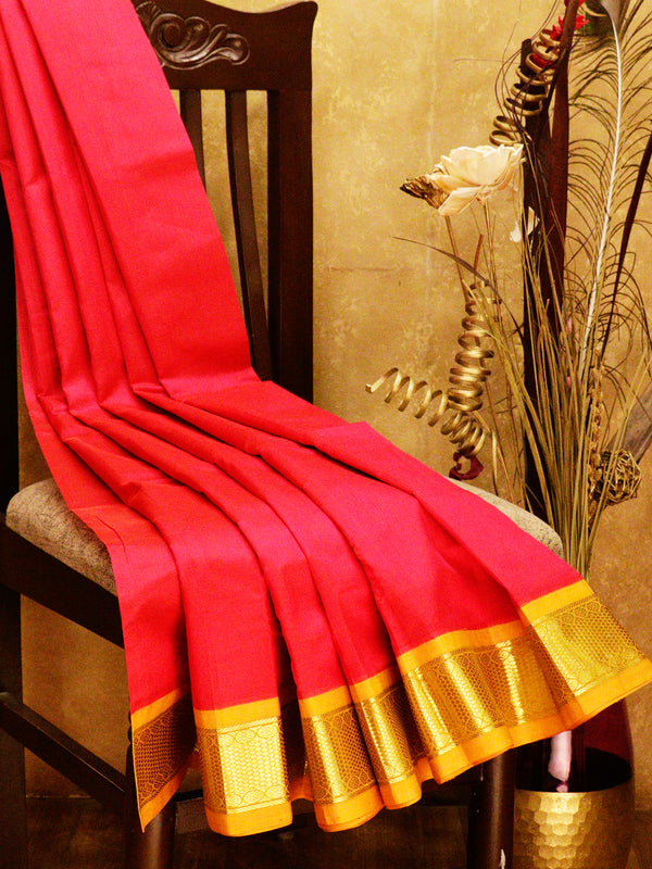 Silk cotton saree dark pink and mustard yellow with korvai zari border