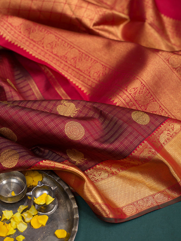 Kanjivaram Silk Sarees Maroon Annam and Mandala Buttas with Small zari checks and Mango zari Border