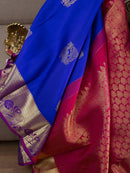 Kanjivaram Silk Sarees Navy Blue with Annam Silver Buttas and floral Zari border