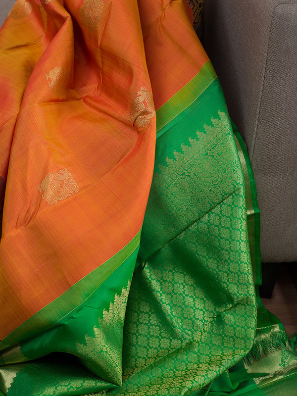 Kanjivaram Silk Sarees Honey Color with Annam buttas and Floarl Zari Border