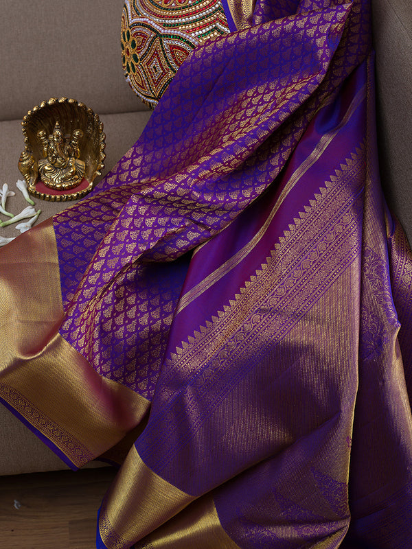 Kanjivaram Silk Sarees Violet with embossed and zari border