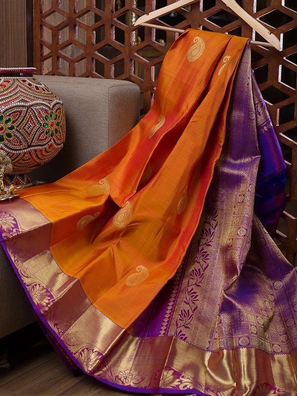 Kanjivaram Silk Sarees Honey color with Mango Buttas and Floral zari Border