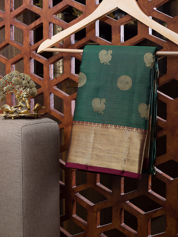 Kanjivaram Silk Sarees Dark Green Vairaoosi with Annam and mandala Buttas and Zari Border