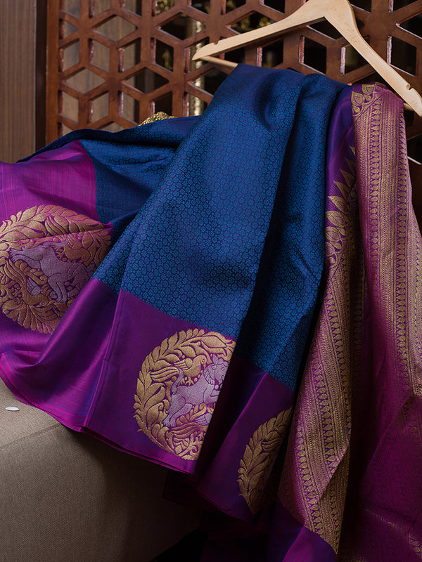 Kanjivaram Silk Sarees Blue with Embossed and violet with Mandala Zari border