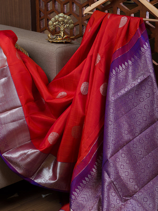 Kanjivaram Silk Sarees Red with Silver Buttas and Floral Silver zari Border