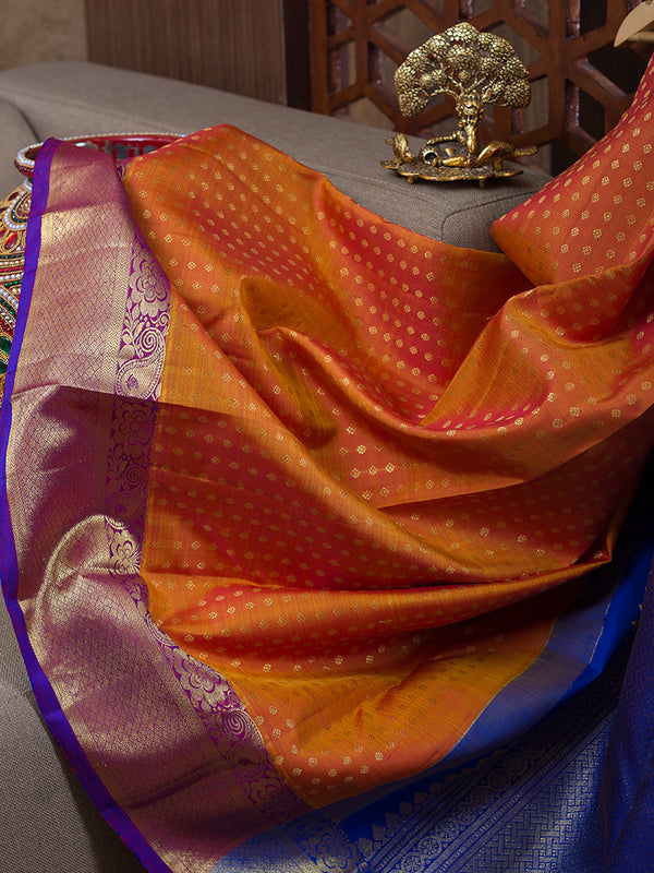 Kanjivaram Silk Sarees Dual Shade Of Honey Color with Buttas and violet with Floral zari Border