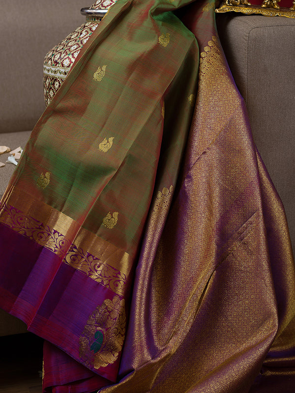Kanjivaram Silk Sarees Dual shade of Moss Green with annam Buttas and Violet with Floral Zari Border