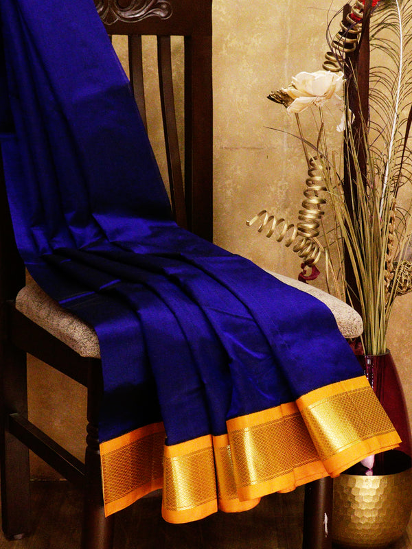 Silk cotton saree blue and mustard yellow with korvai zari border