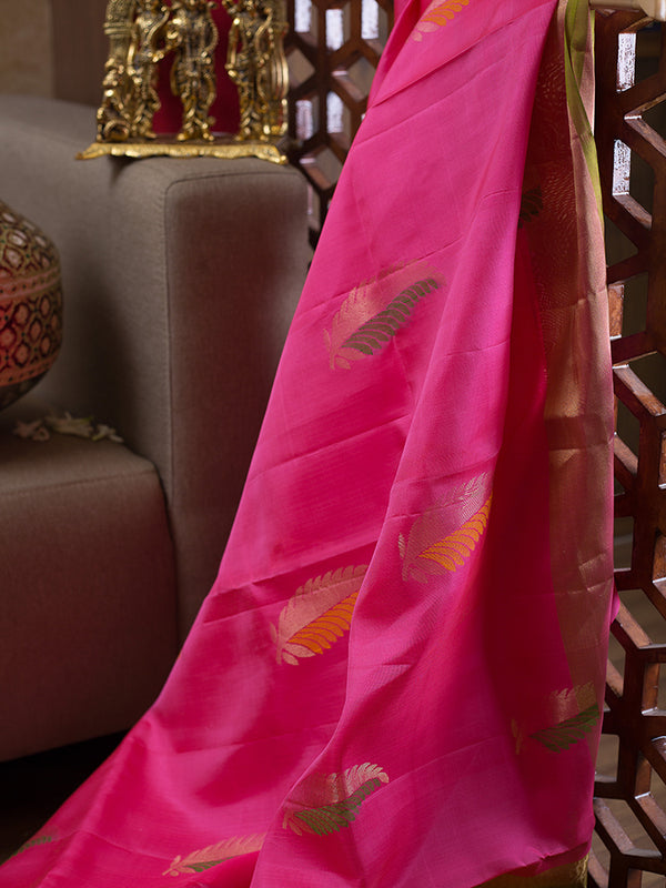 Soft Silk Saree Pink with Feather Buttas and zari Border