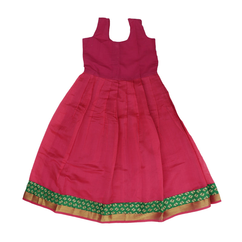 Silk cotton pavaadai Satai Pink and green with butterfly zari border (8 years)